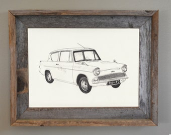 Harry Potter Poster, Harry Potter Art: Flying Ford Anglia