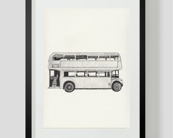 London Art Print, Travel Art Wall Decor: Double Decker Bus