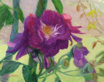 """Purple Roses in the Shade, 8""""x10"""""""
