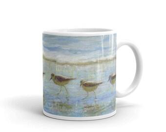 Shorebirds, A Day at the Beach Ceramic Mug