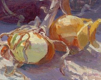 "Still life painting of Onions, 6""x8"""
