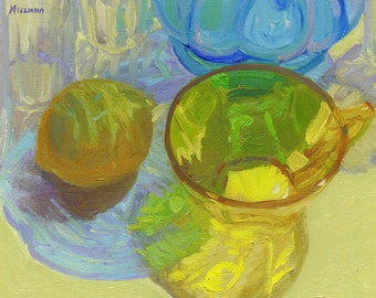"""Oil painting Still Life of Colored Glass with Lemon, 9""""x12"""""""