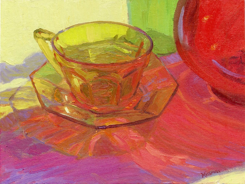 Oil painting Still life of colored glass amber depression ...