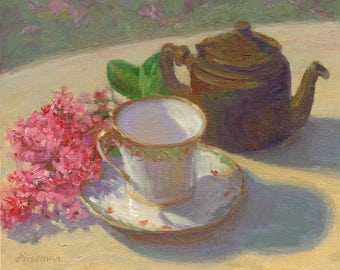 """Oil painting, still life with pink flowers,teacup and teapot, Tea with Hawthorn, 8""""x10"""""""