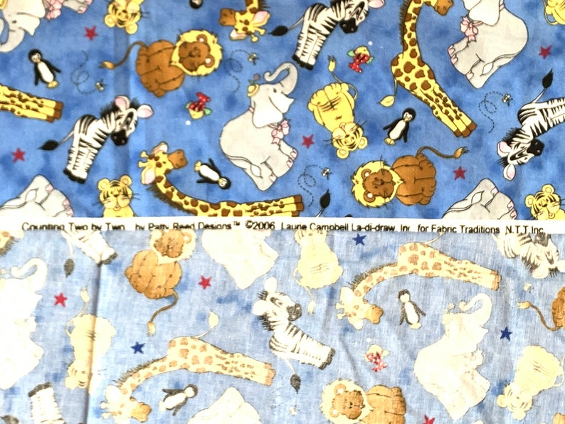 Pre-WASHED Nursey fabric COUNTING Two by Two ANIMALS toss Print on Blue 100/% Cotton Patty Reed Designs\u2122\u00a9Laurie Campbell La-di-draw