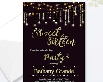 Sweet Sixteen Invitations - Sweet Sixteen Birthday Invitation - Fairy Lights Invitation - Milestone Invite - Sweet Sixteen Birthday Invite