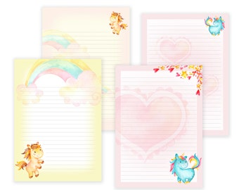 Unicorn Printable Writing Paper - Stationary Paper - Letter Writing Set - Unicorn Note Paper - Printable Journal Pages - Scrapbooking Paper