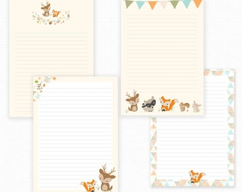 Woodland Printable Writing Paper - Stationary Paper - Letter Writing Set - Fox Note Paper - Printable Journal Pages - Fox Scrapbooking Paper