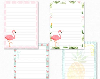 Flamingo Printable Writing Paper - Stationary Paper - Letter Writing Set - Flamingo Note Paper - Printable Journal Pages, Scrapbooking Paper