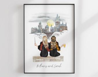 Wizard School Print - Best Friends Gift - Custom BFF - Friends Illustration - Personalized Portrait - Personalized Gift