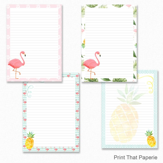 flamingo printable writing paper stationary paper letter etsy