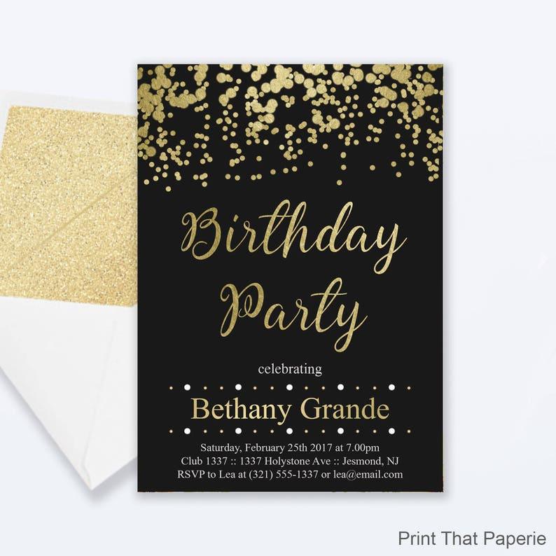 Adult Birthday Party Invitations Gold Confetti