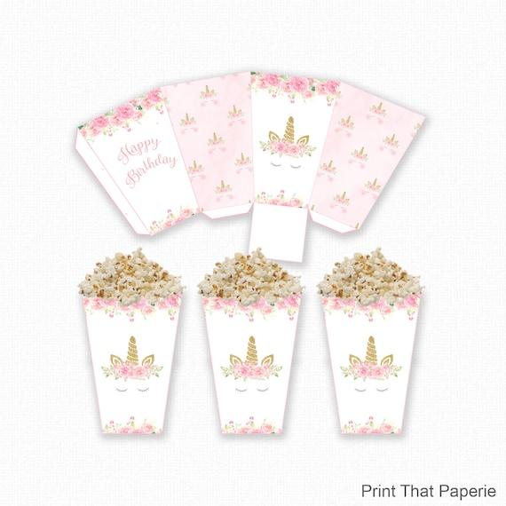 photo regarding Popcorn Printable identified as Unicorn Popcorn Box - Unicorn Birthday Popcorn Box - Printable - Unicorn Occasion - Crimson and Gold Unicorn