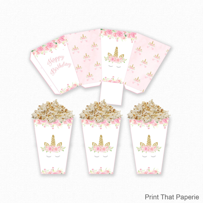 Unicorn Popcorn Box Unicorn Birthday Popcorn Box Printable | Etsy
