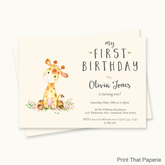 giraffe birthday invitation first birthday invitation first