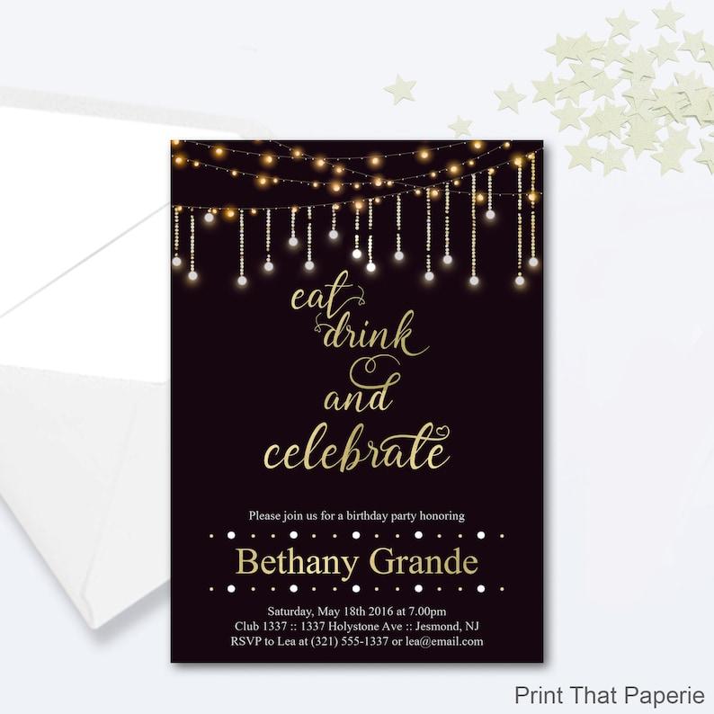 Adult Birthday Party Invitations Fairy Lights