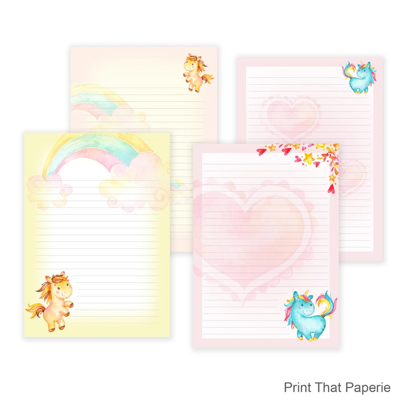 picture relating to Printable Letter Papers titled Unicorn Producing Paper Printable - Floss Papers