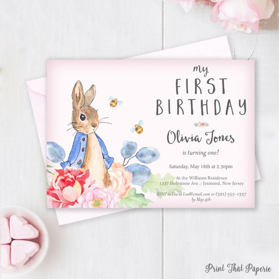 Peter Rabbit Birthday Invitation First Birthday Invitation First