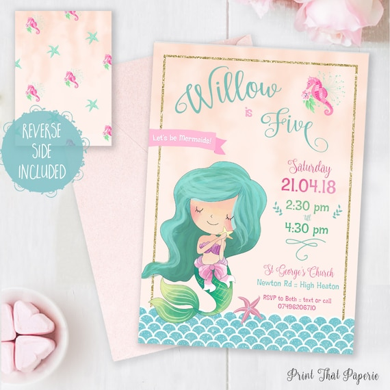 mermaid birthday invitation let s be mermaids invitation mermaid