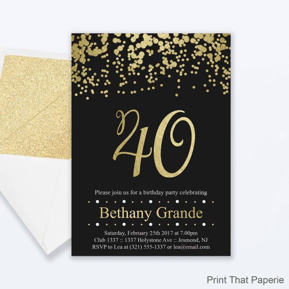 40th Birthday Invitations Gold Confetti Invitation Milestone
