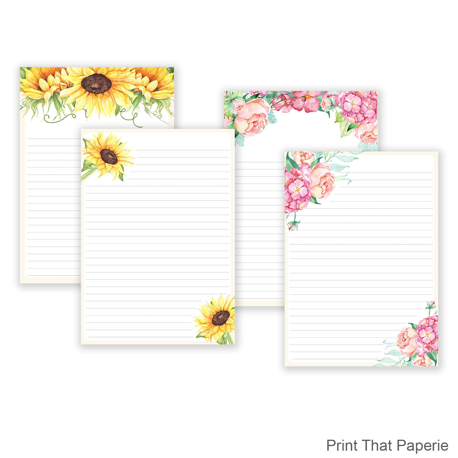 Floral printable writing paper stationary paper flower etsy image 0 image 1 mightylinksfo