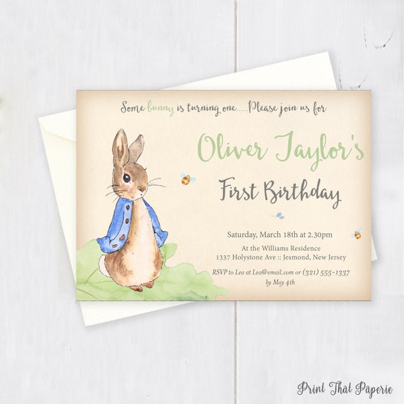 Peter Rabbit Birthday Invitation First