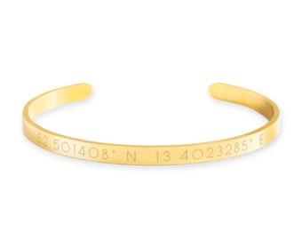 Custom Coordinates Cuff Bracelet -Gift box included, Location bracelet, GPS Coordinates gift, Anniversary Gift, Stainless steel Cuff