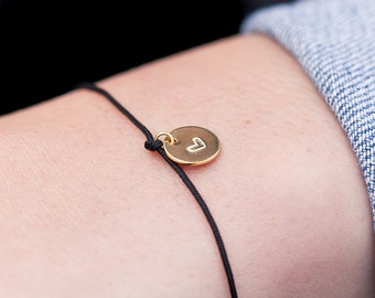 Nylon bracelet with heart or letter | made of recycled 925 sterling silver | in the colours gold, silver or rose gold