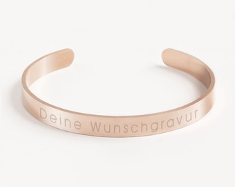 Matt bangle »requested text«   individual font   stainless steel in the colours gold, silver or rose gold incl. jewellery box
