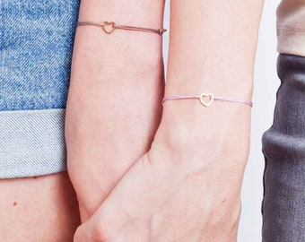 Mother-daughter bracelets set of 2 made of stainless steel, gold-plated