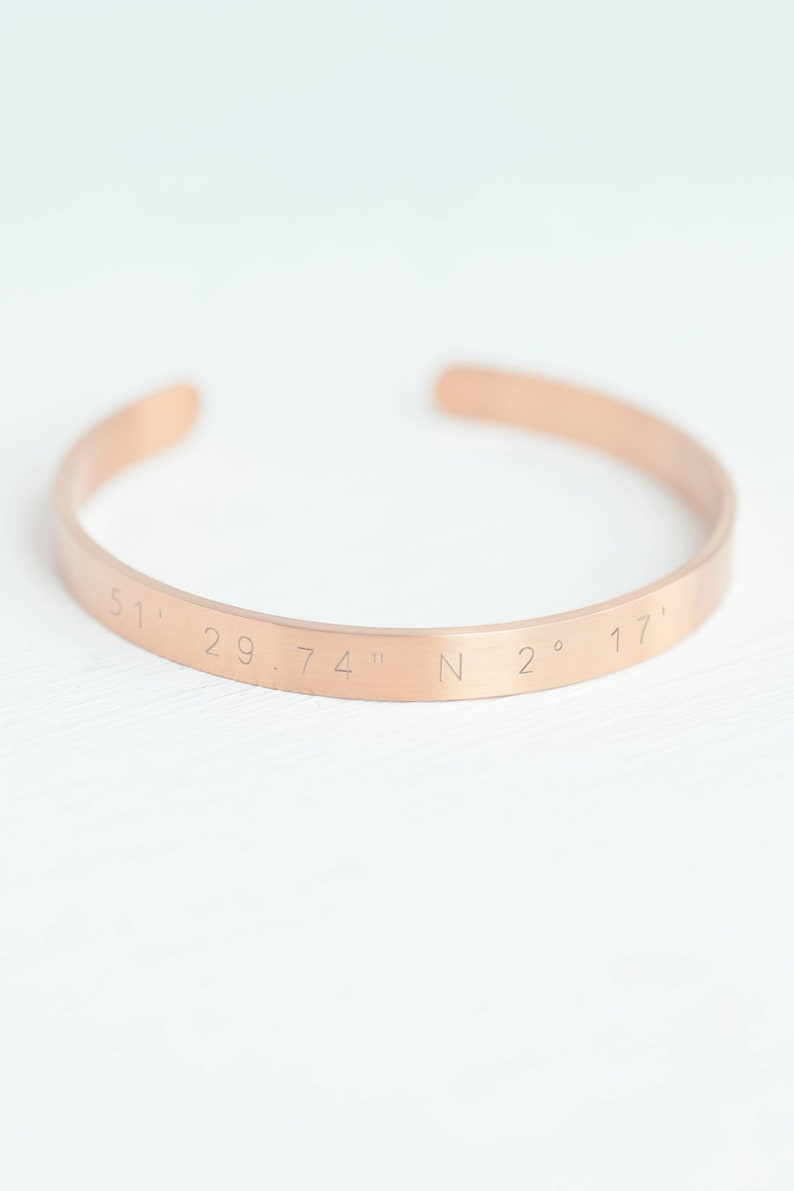 Gold Matte Stainless Steel Cuff Bracelets for Women Gift box included Custom Engraved Coordinates Bracelet Personalized Coordinates gift