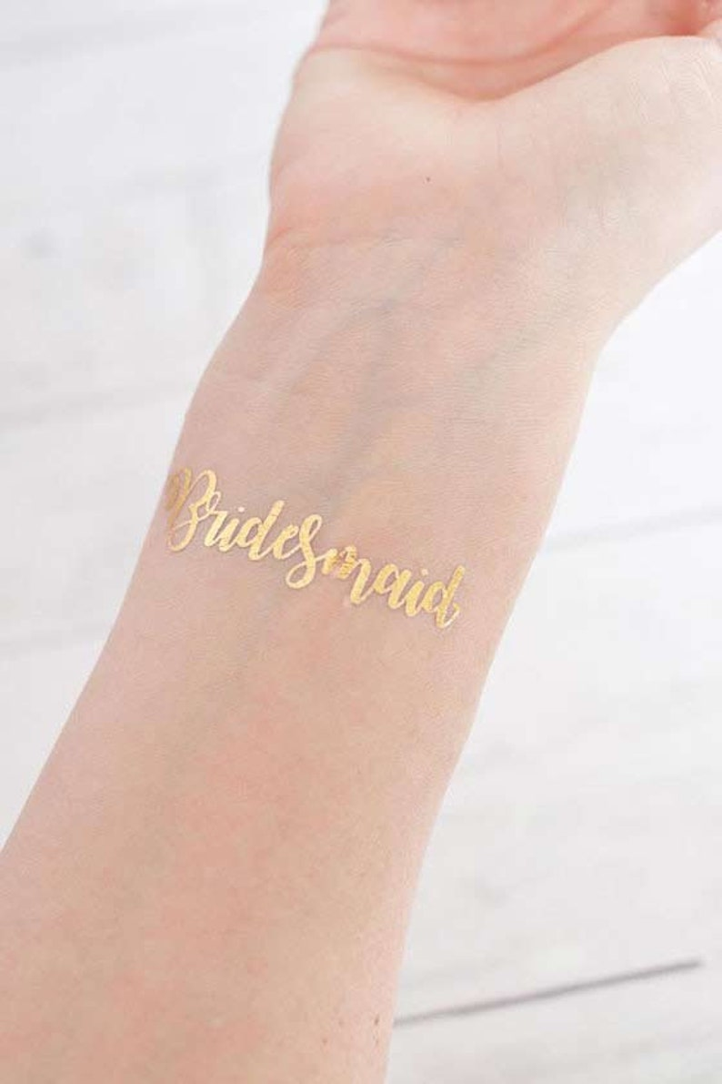 Gift silver or rose gold in the colours gold Tattoo Set \u00bbTeam Bride\u00ab for JGA