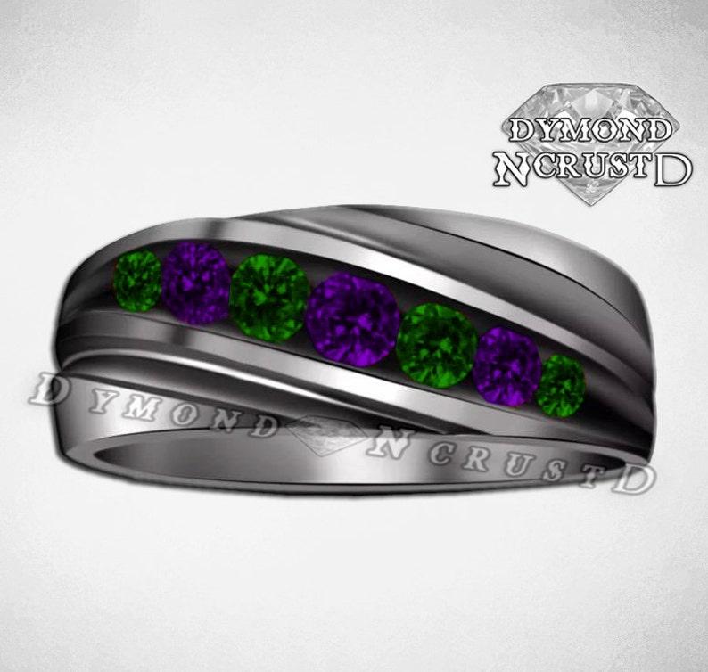 Men's Joker Card Inspired Black Rhodium or Black Gold 1.35Cts Purple Amethyst & Emerald Wedding Band