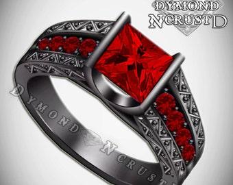 Men's Swarovski Red Garnet  Black Rhodium or Black Gold Wedding Band