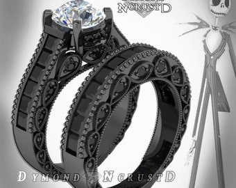 Pumpkin King Skellington Inspired White  & Black Swarovski Accents on Black Rhodium or Black Gold Bridal Engagement Ring Set