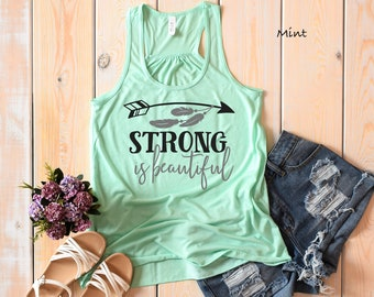 e7416ffd Strong is Beautiful Racerback Tank   Workout Shirt   Summer Tshirt    Lifting Shirt   Casual Wear   Muscle Wear   Strong Women Tank