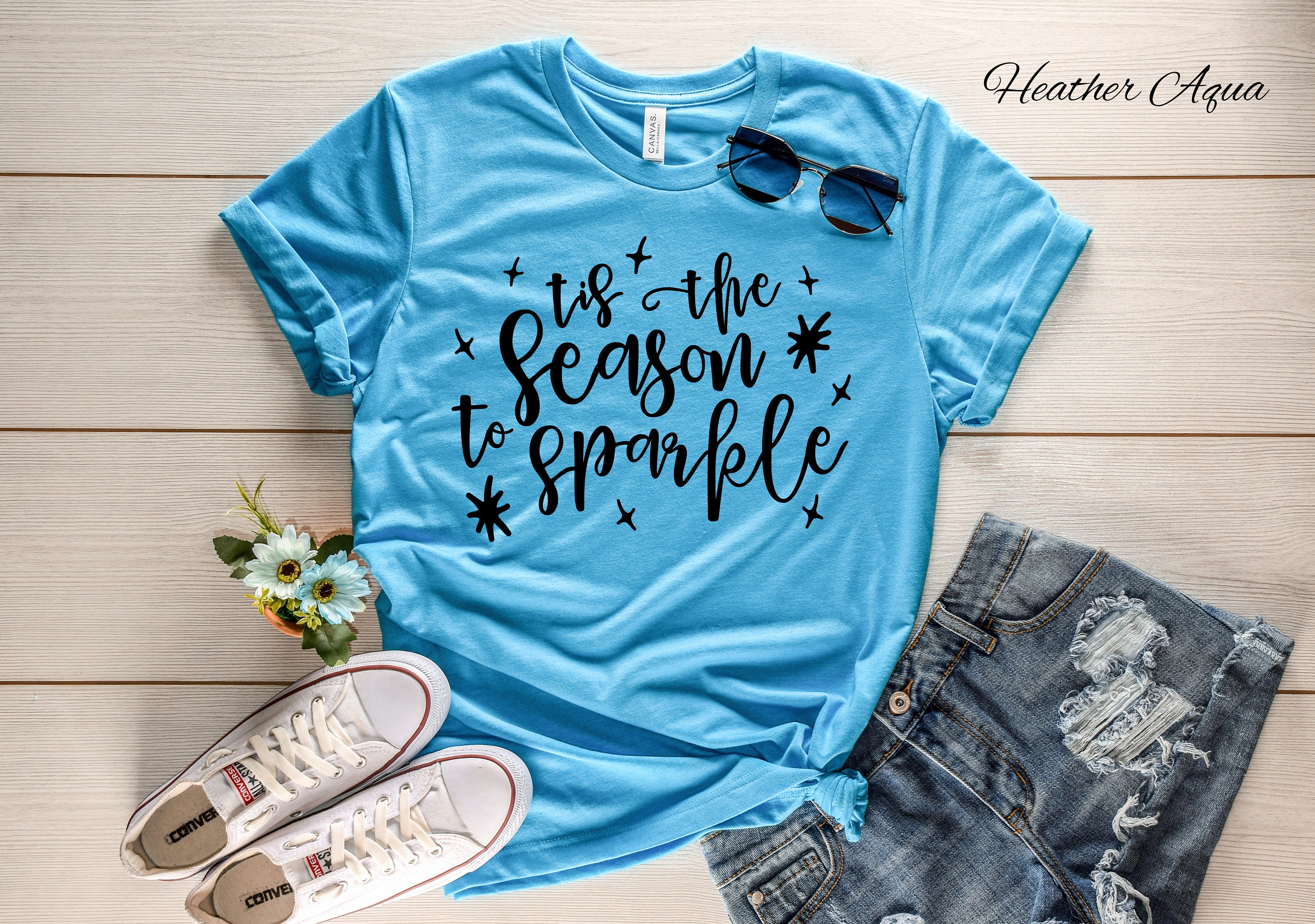 6c357bc096a2 Tis the Season to Sparkle Crew Neck Tshirt | Christmas Shirt | Holiday  Tshirt | Casual Wear | Winter Shirt | Holiday Wear | Graphic