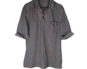 Vintage Plaid Blouse | 70s Plaid Shirt | Thin Plaid Shirt | Fitted Plaid Shirt | 1970s Top | Pullover Plaid | 3/4 Sleeves | Long XL | SR54