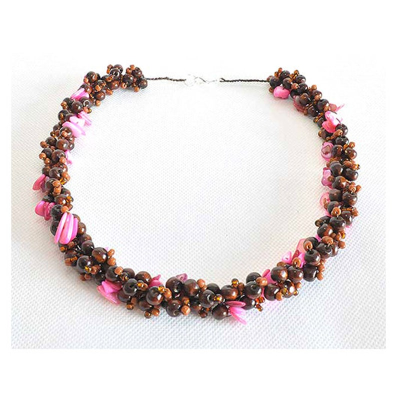 Long Necklace light and effective necklace; natural materials; Wood ; Mother of Pearl 2871