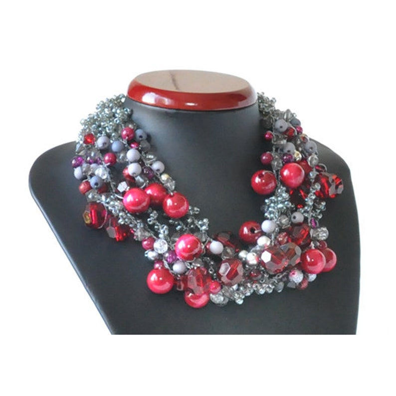 necklace; burgundy necklace gray necklace; every day 3822 crochet necklace for a party; evening jewelry;