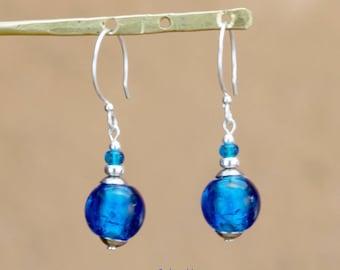 "Earrings ""Lili"" lagoon blue glass beads"
