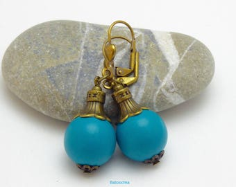 "Bronze earrings ""Aïfa"" Turquoise wooden beads"