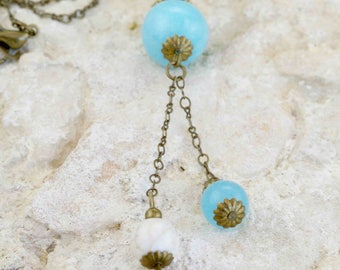 """Necklace bronze """"Ély"""" lagoon blue dyed jade"""