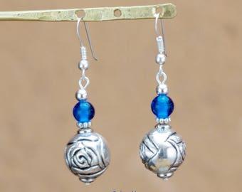 """Téva"" lagoon blue glass beads earrings"