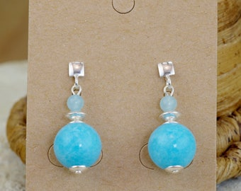 """Square Stud Silver 925 """"Vicky"""" lagoon blue dyed jade"""
