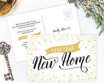 new year new home change of address cards printed holiday moving announcements moving announcement postcards