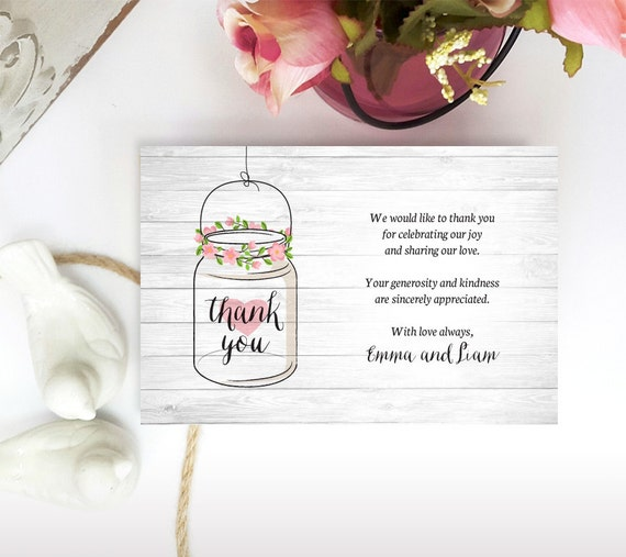 printed thank you notes mason jar thank you cards for etsy
