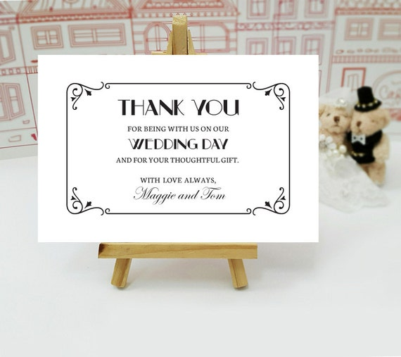 art deco thank you note printed thank you cards for wedding etsy