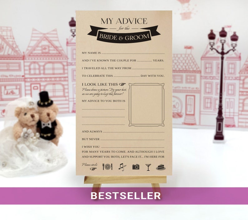 Alternative guest book Wedding advice cards printed on kraft cardstock PRINTED Wedding mad libs