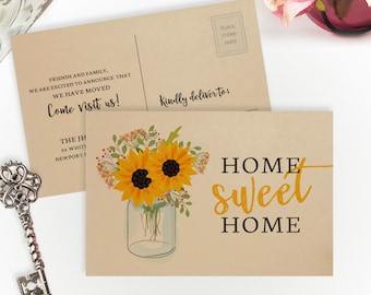 Rustic moving cards PRINTED on kraft paper   Gift for new home   4X6 home sweet home cards   Change of address postcards